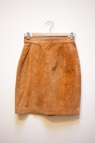 Tan Suede Leather Skirt