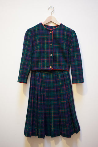 Wool Plaid Jacket & Skirt Set