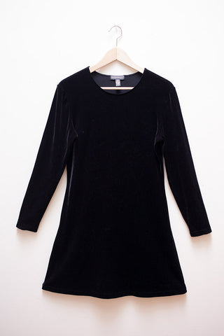90's Black Velvet Mini Dress