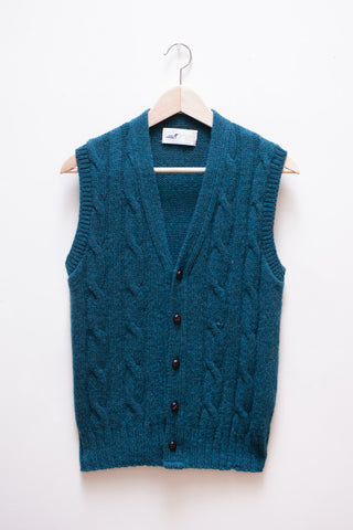 Teal Wool Cable Knit Sweater Vest