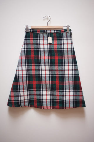 Wool Plaid Knee Length Skirt