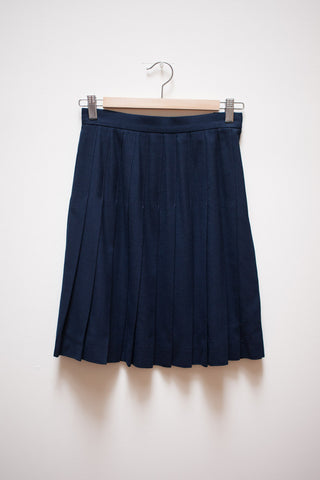 Navy Wool Pleated School Girl Skirt