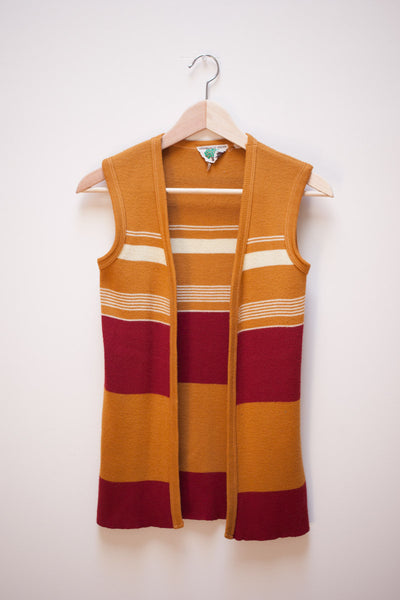 Maroon and Mustard Striped Sweater Vest