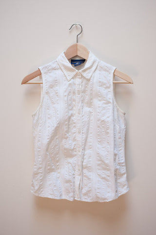 White Sleeveless Button Up Shirt