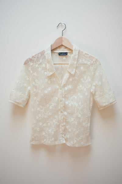 Floral Mesh and Lace Blouse