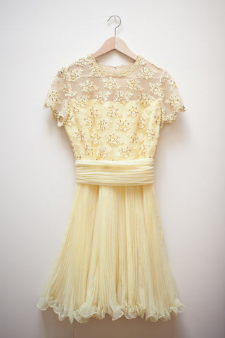 Yellow Beaded Lace Cocktail Dress