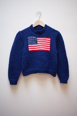 Hand Knit American Flag Sweater