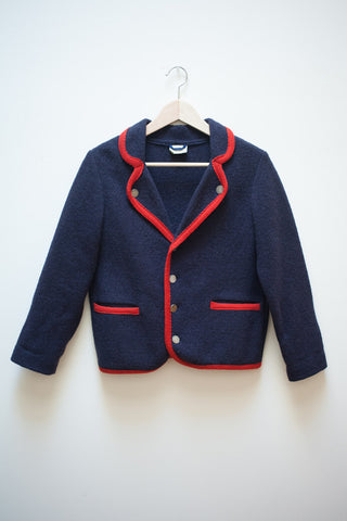 Laura Ashley Navy Melton Wool Cardigan