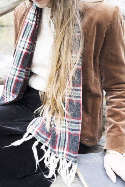 Plaid Tassel Scarf
