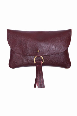Kertis Oxblood Leather Clutch