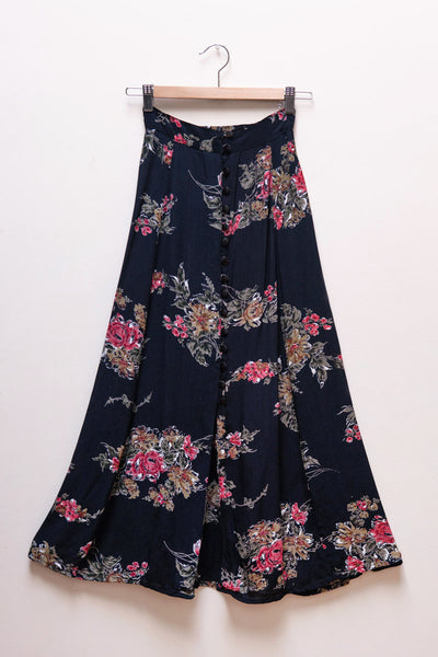 90's Black Floral Maxi Skirt