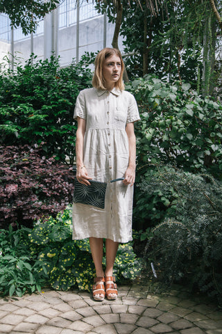 Pale Gingham Linen Dress