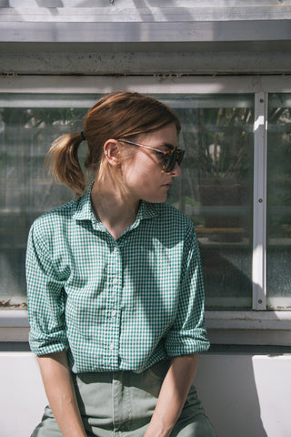 Green Gingham Button Up