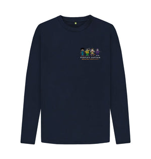 Navy Blue Men's Blue People's Captain Long Sleeved T-Shirt