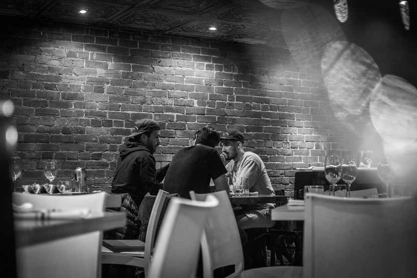 black and white image of meeting in restaurant_1