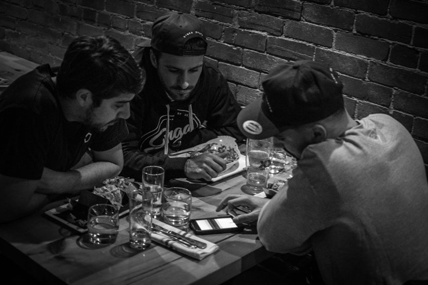 black and white image of meeting in restaurant_2
