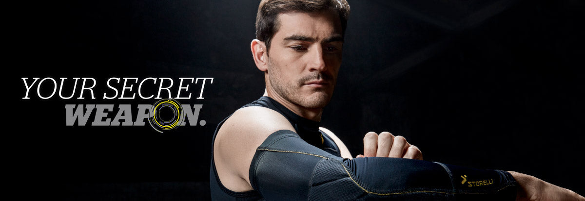 Iker Casillas, brand ambassadors of Storelli Sports. Modelling elbow protection