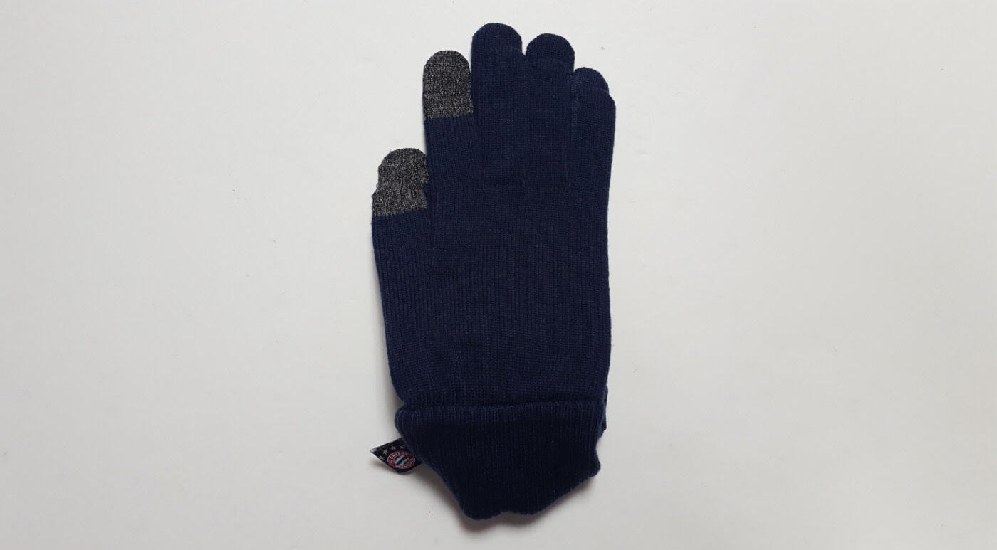navy knitted winter gloves made by adidas