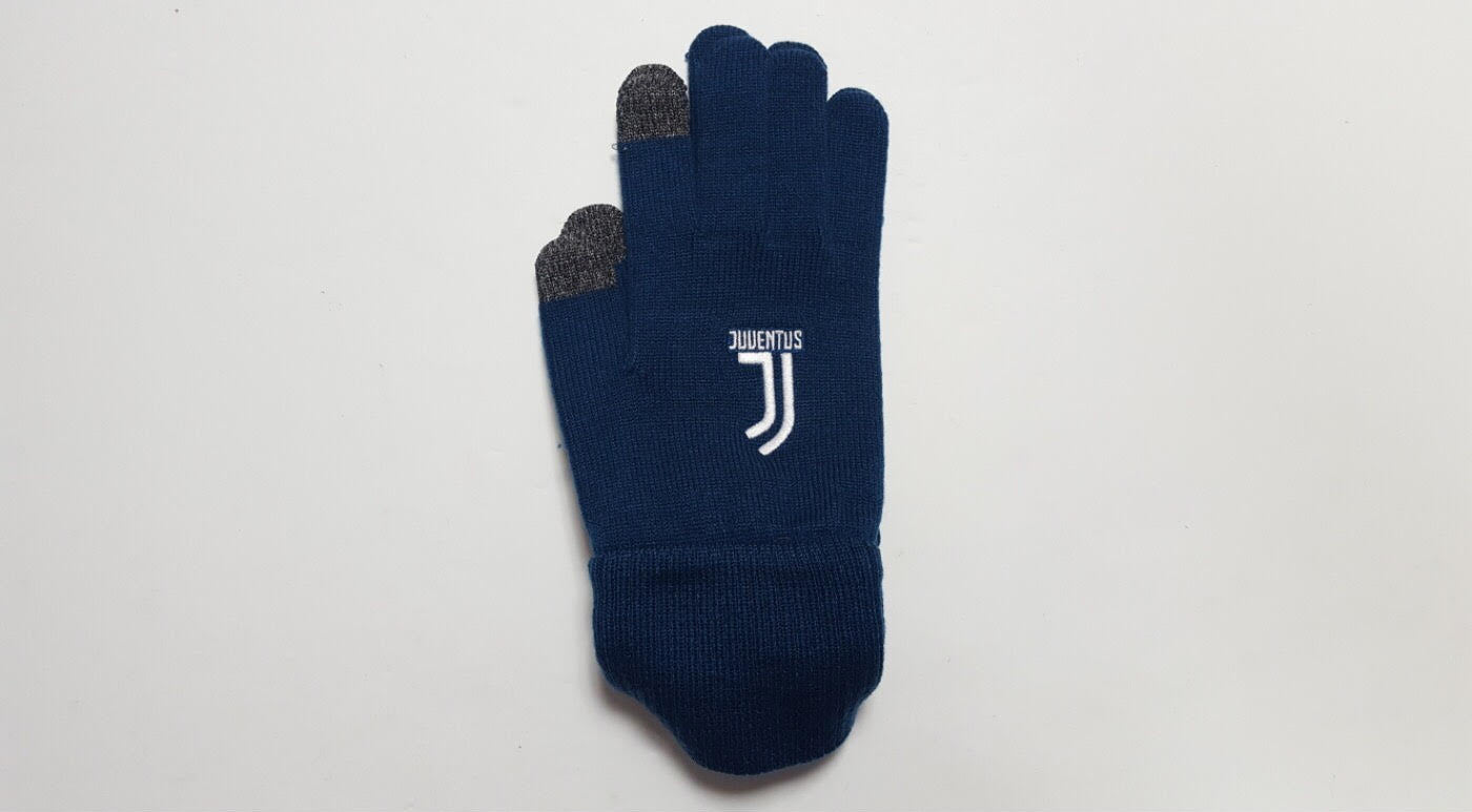 navy knitted winter gloves made by adidas with juventus club logo embroidered
