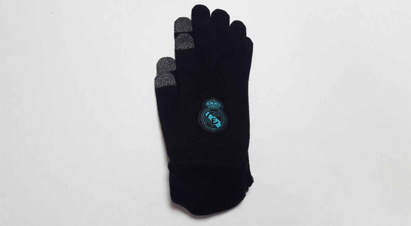 black knitted winter gloves made by adidas with real madrid crest embroidered
