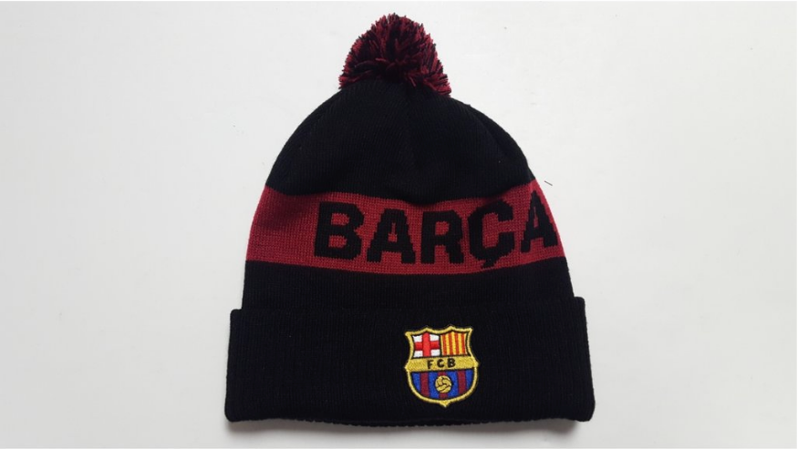 FC Barcelona, embroidered crest, knitted POM beanie