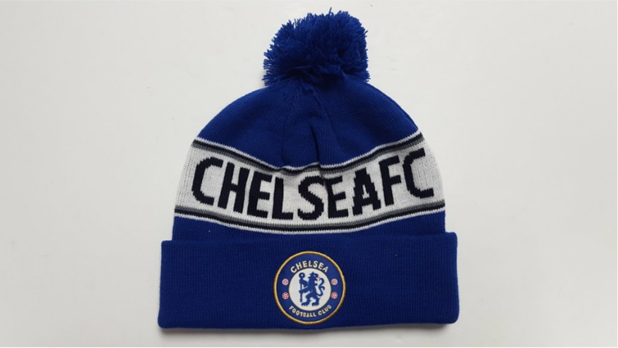 Chelsea Football Club, embroidered crest, knitted POM beanie