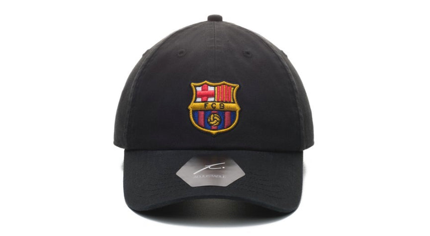fi collection fc barcelona dad hat black, 100% twill cotton