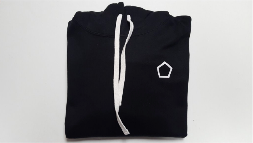 black hoodie with white cords and with white pentagon logo heart side.