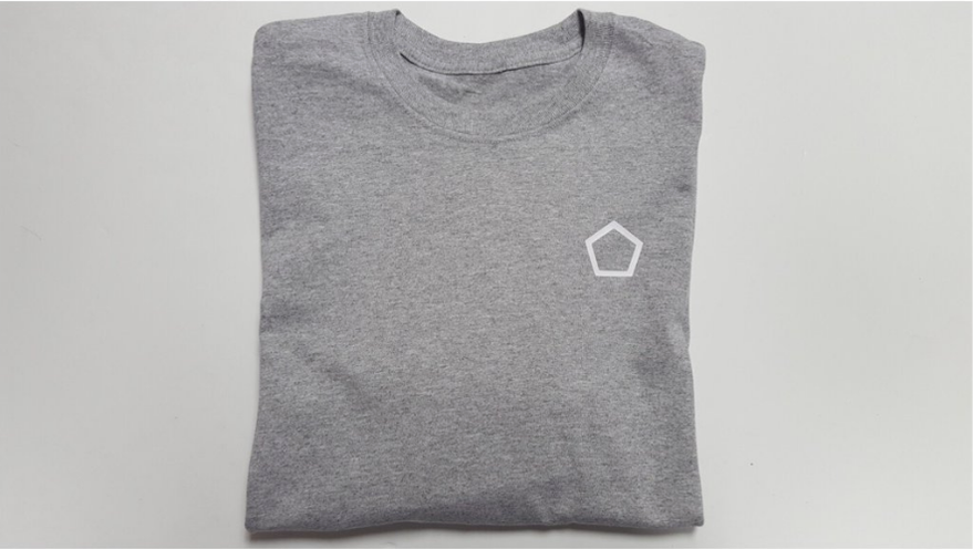 grey longsleeve t-shirt with white pentagon logo heart side.