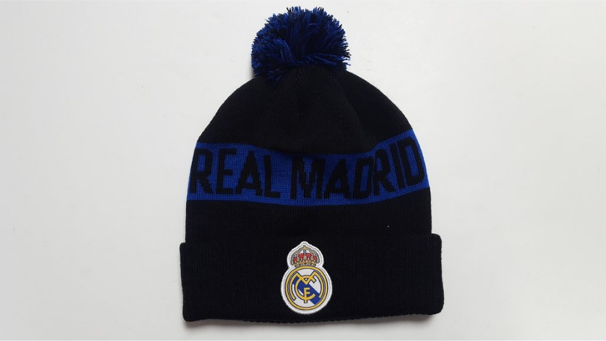 Real Madrid Football Club, embroidered crest, knitted POM beanie