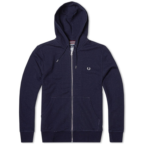 Fred Perry Loopback Full Zip Hoodie, Navy