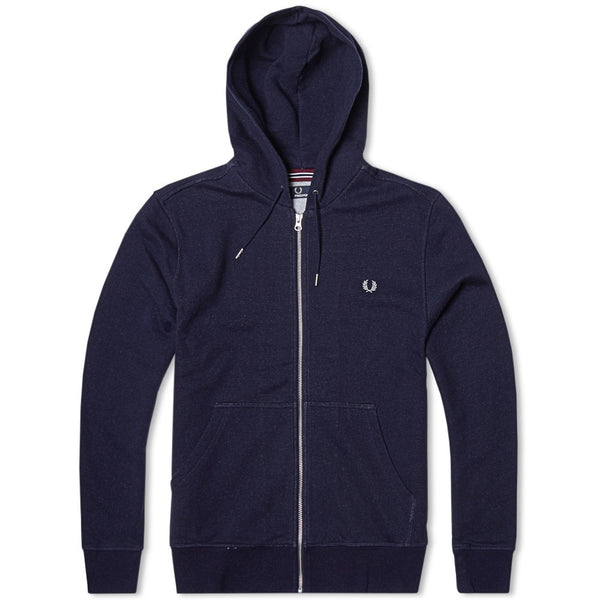 Fred Perry Loopback Full Zip Hoodie Navy | Fred Perry Chandail à Capuchon Zippé Loopback Bleu Marine