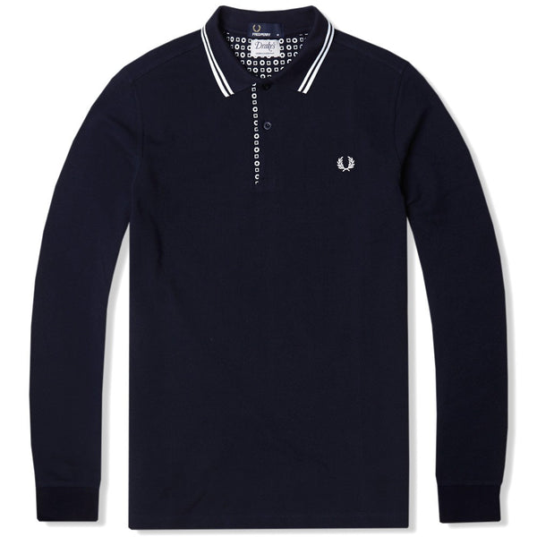 Fred Perry Drakes Long Sleeve Polo Navy