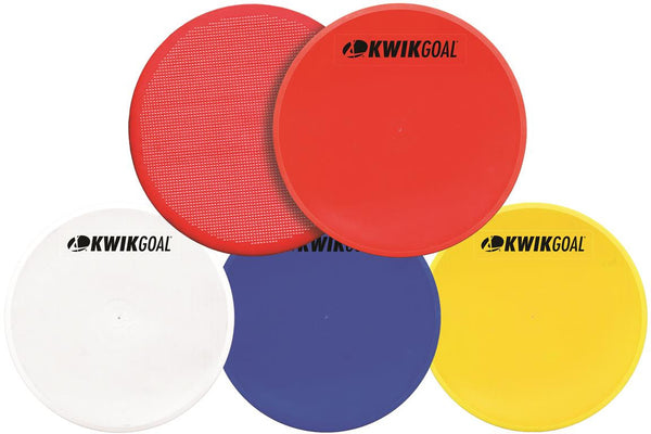 KwikGoal Flat Round Markers in Red, Blue, White & Yellow