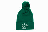 Dark Green Embroidered Pomo Pom Toque