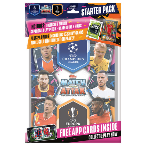 2020-21 TOPPS MATCH ATTAX CHAMPIONS LEAGUE CARDS – STARTER PACK (ALBUM, 27 CARDS + LE GOLD FIRMINHO CARD)