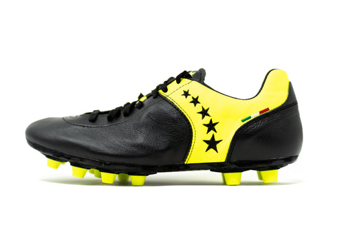 Akuna Cinquestelle Piuma FG Soccer Cleat - Black/Yellow