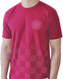 Bumpy Pitch Checkers T-Shirt, Short Sleeve, Red