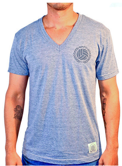Bumpy Pitch V-Neck Shirt, Short Sleeve, Grey