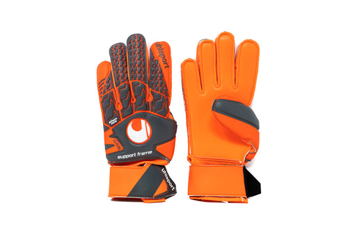 Uhlsport Aerored Soft SF Goalkeeper Gloves, Orange, Flat Cut, Finger Protection