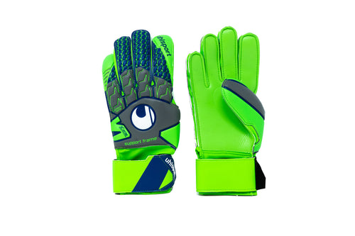 Uhlsport TensionGreen Soft SF Goalkeeper Gloves, Green, Flat Cut, Finger Protection
