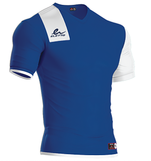 Short sleeve soccer jersey. Royal and white. Manufactured by the brand Eletto Sport