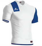 Short sleeve soccer jersey. White and royal. Manufactured by the brand Eletto Sport