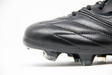 adidas black f50 adizero soccer cleat with plastic studs - close up of front of shoe