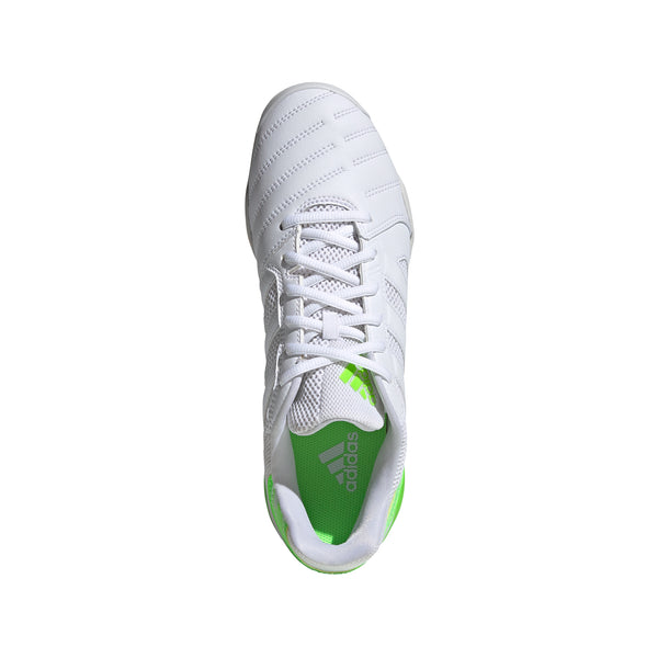Adidas Top Sala Indoor Soccer Futsal Shoe, White, Synthetic Upper, Rubber Outsole, Aerial  View
