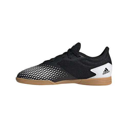 Adidas Youth Predator 20.4 Sala Indoor Soccer Futsal Shoe, Black & White, Mesh Upper, Side View