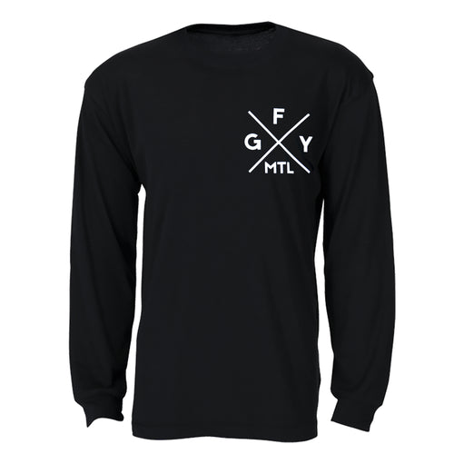 GFY Alternate Offset Logo Long Sleeve Sweater, Black