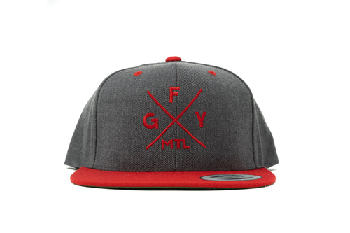 GOAL X GFY Snapback Cap, Grey & Red, Front View