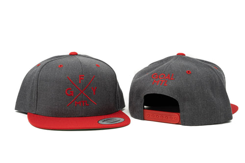 GOAL X GFY Snapback Cap, Grey & Red