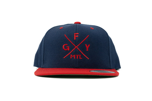 GOAL X GFY Snapback Cap, Navy & Red, Front View
